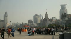 People on the Bund in Shanghai - stock footage