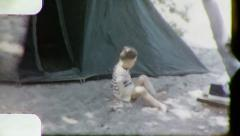 BOY Tent CAMPING Family Vacation Plays Sand 1960s Vintage Film Home Movie 3199 Stock Footage