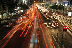 Traffic jam long exposure Stock Photos