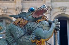 famous dragon on la rambla in barcelona, spain - stock photo