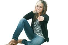 you are the one!, portrait of attractive smile laugh teenage girl, pointing h - stock photo