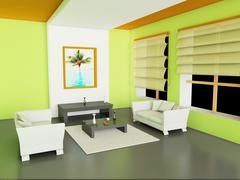 3d illustration of modern interior of living-room. Stock Illustration