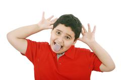 Horizontal portrait of a young boy's silly face Stock Photos