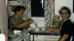 TEA TIME Women Drink Teapot Kitchen Friends 1960s Vintage Film Home Movie 3204 Stock Footage