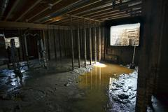 House basement mud water flood damage 1912.jpg Stock Photos