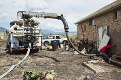 House flood mud water pump truck 1999.jpg - stock photo