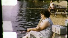GONE to FISHING Hole Woman Thinking Relaxing 1960s Vintage Film Home Movie 3211 Stock Footage