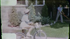 GIRL Rides Bike Sister Brother SUBURBAN 1950s (Vintage 8mm Film Home Movie) 3213 Stock Footage