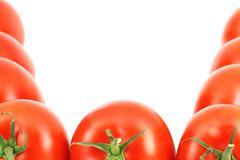 fresh tomatoes border - stock photo