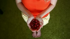 Girl with raspberries Stock Footage