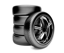 3d tires isolated on white background Stock Illustration