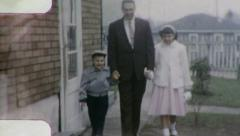 FATHER DAUGHTER SON Walk Holding Hands 1960s Vintage Film Home Movie 3221 Stock Footage