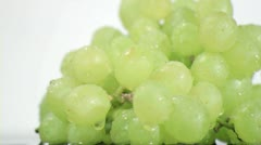 Green grapes in super slow motion being soaked Stock Footage