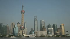 Day time shot of the Shanghai Pudong sky line Stock Footage