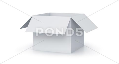 Stock Illustration of white cartoon cube box.