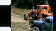 LEVELING ROAD Heavy Construction Machinery 1950s (Vintage Film Home Movie) 3335 Stock Footage