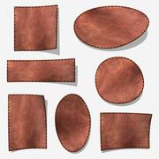 Brown leather label - isolated on gray with shadow Stock Illustration