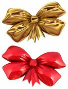 red and golden bow isolated on white background - stock illustration