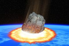 total destruction of the world - collision of an asteroid with the earth - stock illustration
