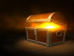 old wooden treasure chest with strong glow from inside - stock illustration