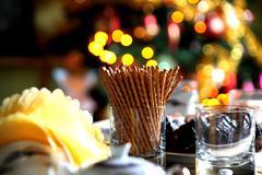 Salt sticks on party table - stock photo