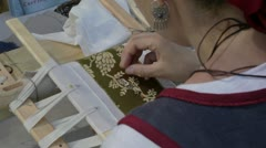 Female embroider Stock Footage