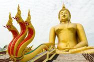 Giant buddha and dragon Stock Photos