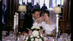 Reception BIG WEDDING TOAST to Bride Groom 1960s Vintage Film Home Movie 3256 - stock footage