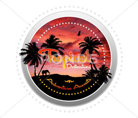 Stock Illustration of tropical destinations - adventure awaits