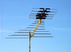 Roof mounted wide band tv aerial Stock Photos