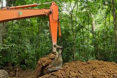 earth mover in tropical rainforest - stock photo