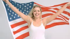 US flag flying in super slow motion Stock Footage