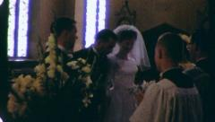 Procession to Altar Inside Church Wedding Bride 60s Vintage Film Home Movie 3273 Stock Footage