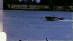 MOTOR BOAT TOWS SKIER Waterski 1960s Vintage Old Film Home Movie 3282 Stock Footage