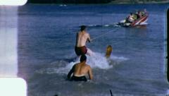 Men Water Flop POWER BOAT WATERSKIER Waterski 1960s Vintage Film Home Movie 3283 Stock Footage