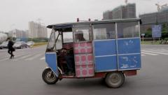 Stock Video Footage of Trike - Tuk Tuk on Street in Asia