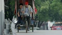 Rickshaw bike in China Stock Footage
