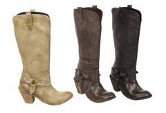 ladies boots over white - stock photo