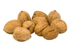 walnuts on white - stock photo