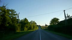 Driving down a country lane in france Stock Footage