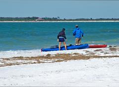 Kyakers at Caldessi Beach Stock Photos