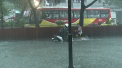 Street Kids Play In Flood Waters Manila Philippines Stock Footage