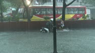Stock Video Footage of Street Kids Play In Flood Waters Manila Philippines