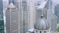 Aerial View on Skyline of Shanghai - stock footage