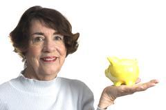 Senior women with savings bank Stock Photos