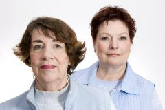 Two women looking concerned Stock Photos
