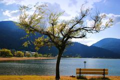 view of harrison hot springs - stock photo