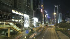Time lapse of busy traffic on a Hong Kong freeway in Causeway Bay, Wan Chai Stock Footage