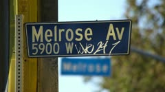 Melrose Avenue Street Sign Worn Out - stock footage