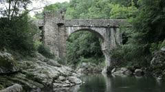 Pont du diable - Devil's Bridge - Medieval ruins Stock Footage